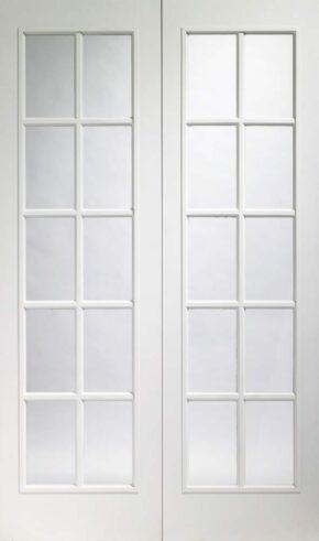 Portobello White Primed Clear Glass Pair