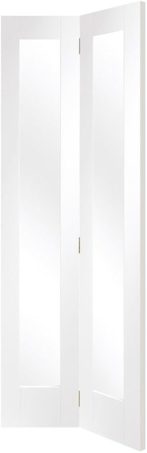 Pattern 10 Shaker Clear Glass White Primed Bi-Fold