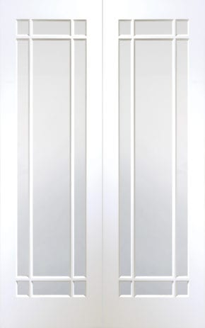 Cheshire White Primed Clear Glass Pair