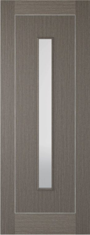 Chocolate Grey Inlay 1 Panel 1 Light Glazed Door