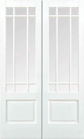 Downham White Primed Clear Bevelled Glass Pair