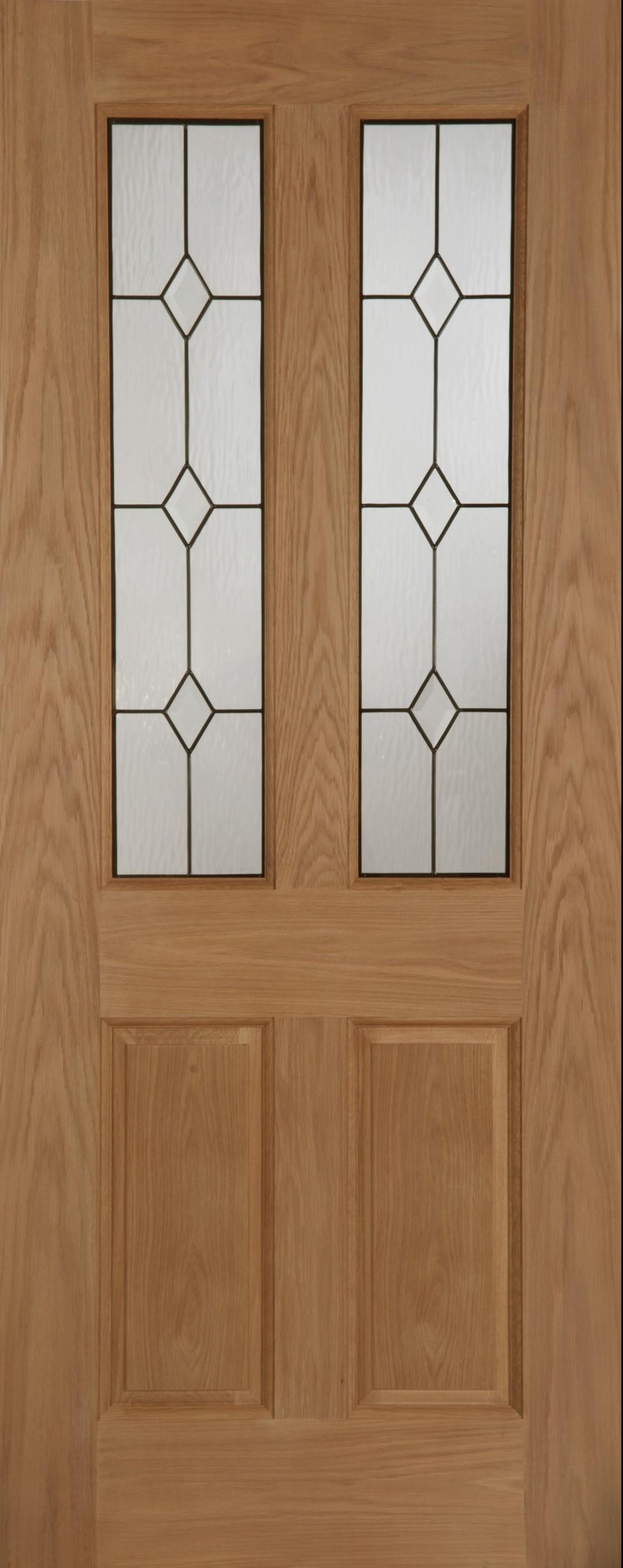 Edwardian diamond oak triple glazed external door for Triple glazed doors