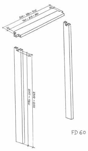 FD60 Fire Rated Hardwood Door Lining Frame
