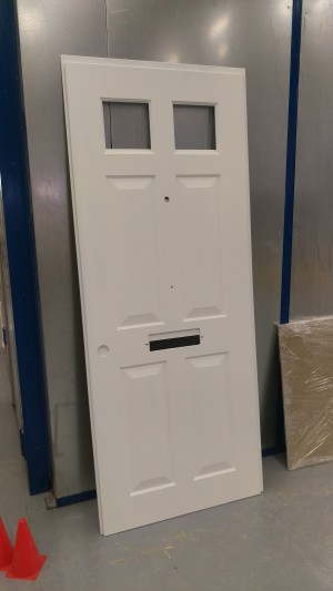 MF routed and painted facia to a steel door