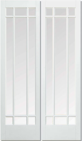 Manhattan White Primed Clear Bevelled Glass Pair