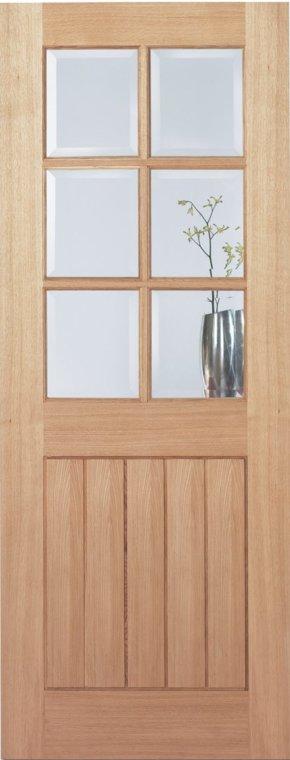 Oak Mexicano 6 Light Clear Bevelled Glass