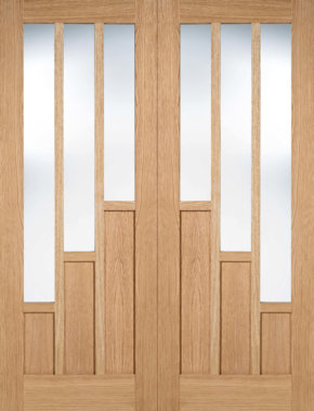 Coventry Oak Pre-finished Clear Glass Pair