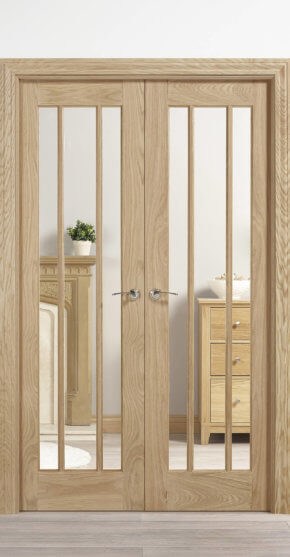 Oak Lincoln Clear Glass Pair