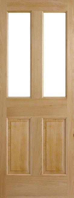 Oak Malton 2 Panel 2 Light Unglazed External Door