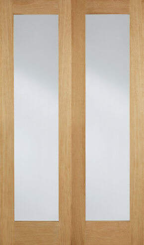 Pattern 20 Oak Clear Glazed Pair Doors (40mm)