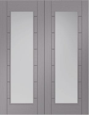 Palermo Light Grey Pair Clear Glass