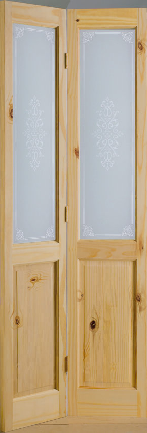 Bi-Fold Pine 2 Panel Screen Print Glazed Door