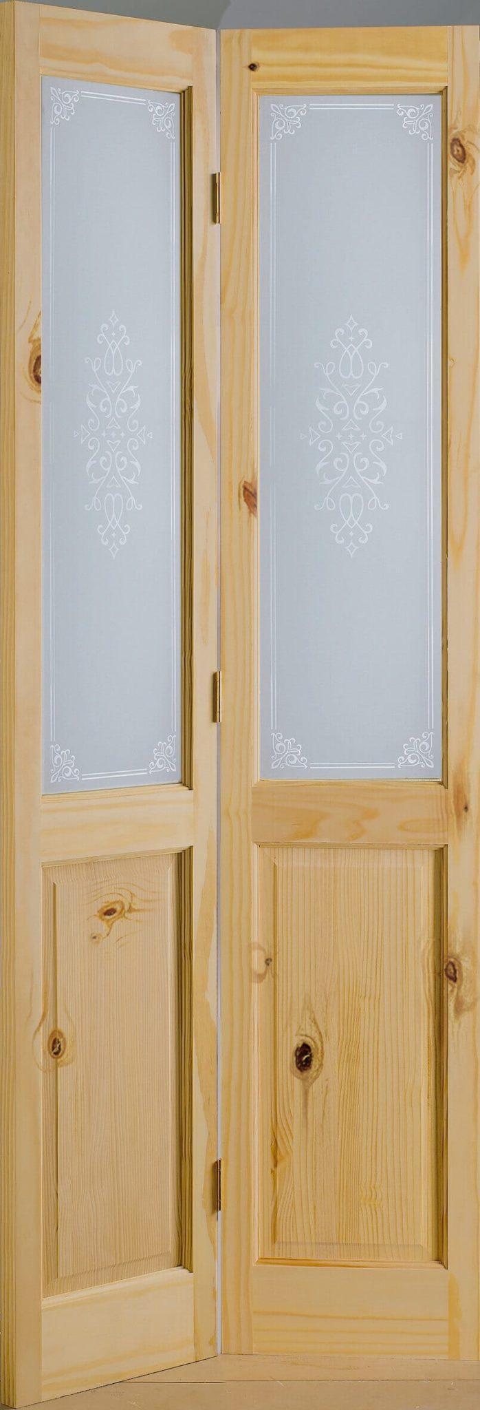Bi Fold Pine 2 Panel Screen Print Glazed Door Trading Doors