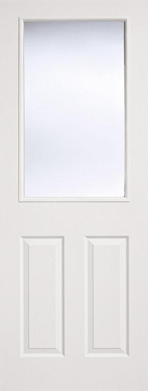 White Moulded Textured 2 Panel 1 Light Glazed