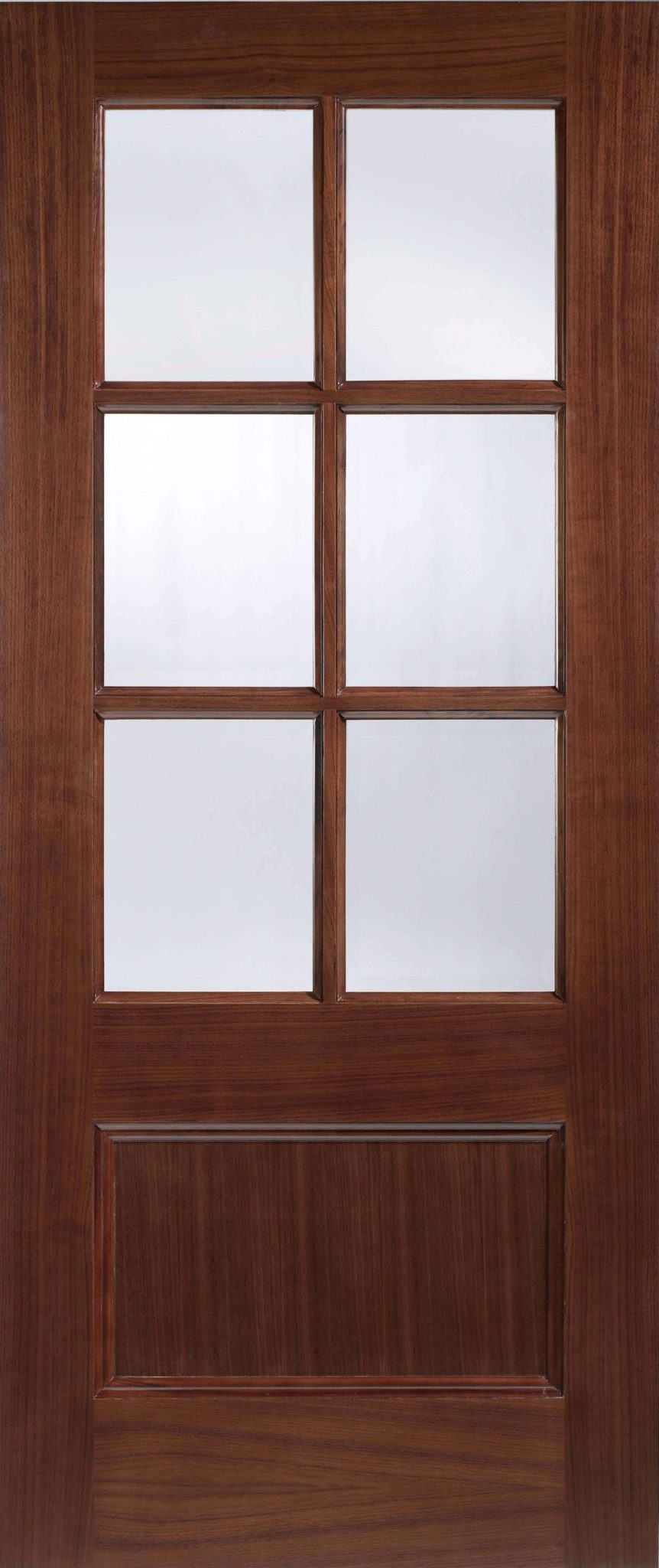Walnut Zurich 1 Panel Clear Bevelled Glass Trading Doors